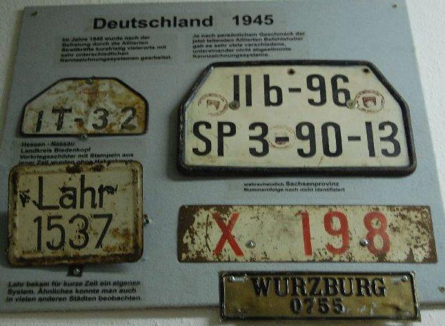 Nummernschilder Nachkriegszeit