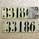 Paar Fahrradnummernschilder aus der Zeit vor 1918