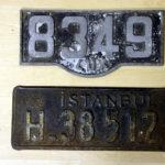 altes Luxemburg und altes Türkei Nummernschild