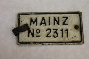 Fahrradnummernschild aus Mainz