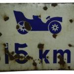 Emaille Verkehrsschild Geschwindigkeitsbegrenzung 15km