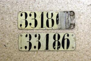 Paar Fahrradnummernschilder München aus der Zeit vor 1918