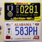 Ex Prisoner of War und Purple Heart Nummernschilder
