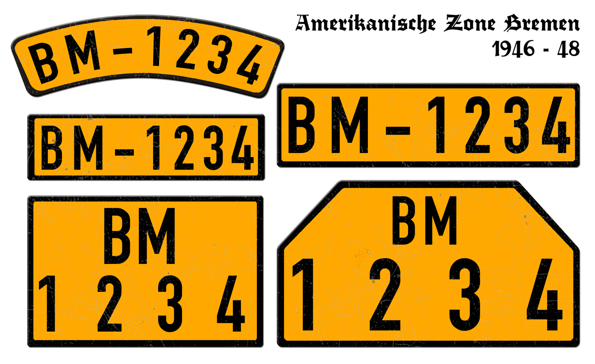 Orange Nummernschilder BM Amerikanische Zone Bremen 1946 bis 1948