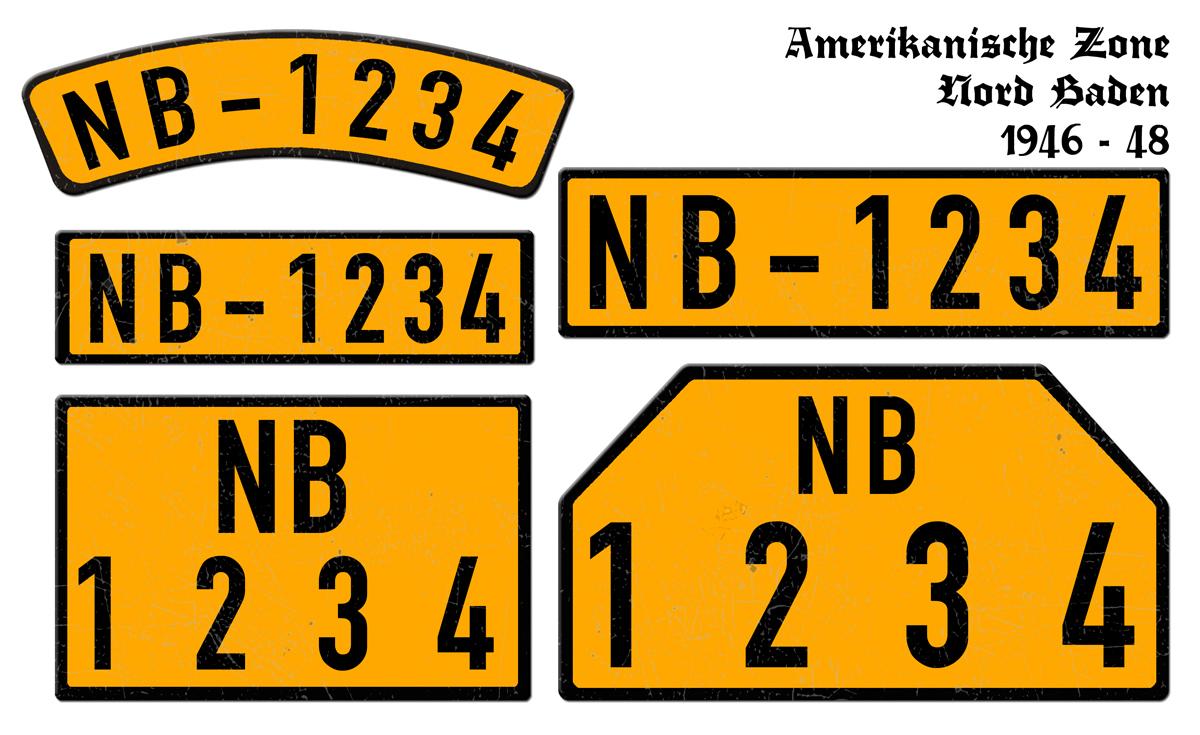 Orange Nummernschilder NB Amerikanische Zone Nord Baden 1946 bis 1948