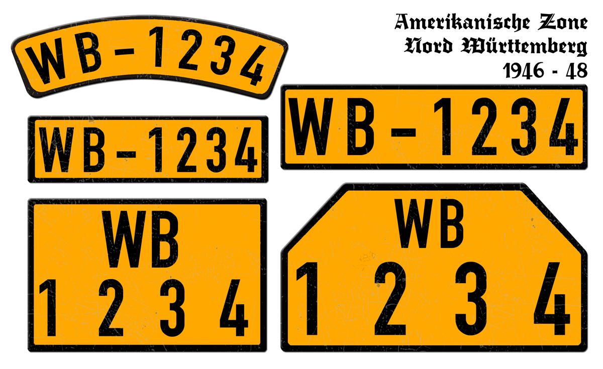 Orange Nummernschilder WB Amerikanische Zone Nord Württemberg 1946 bis 1948