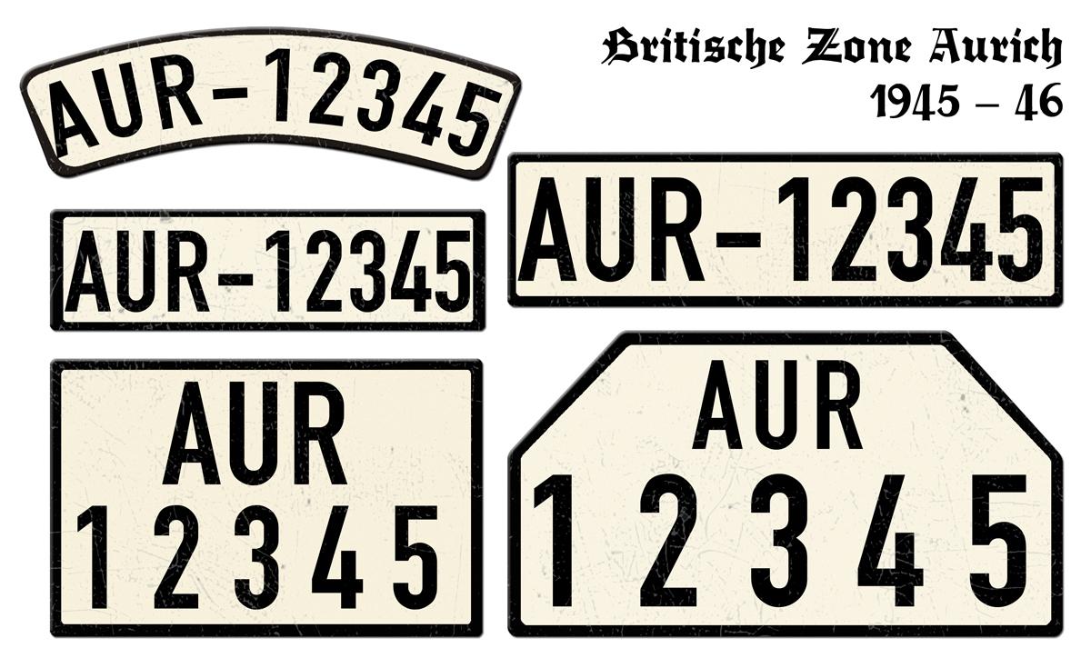 Nummernschilder AUR Britische Zone Aurich 1945 bis 1946