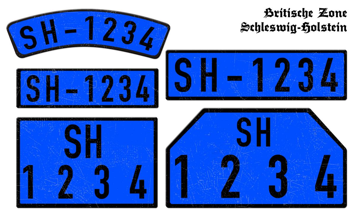 Blaue Nummernschilder SH Britische Zone Schleswig-Holstein 1946 bis 1948