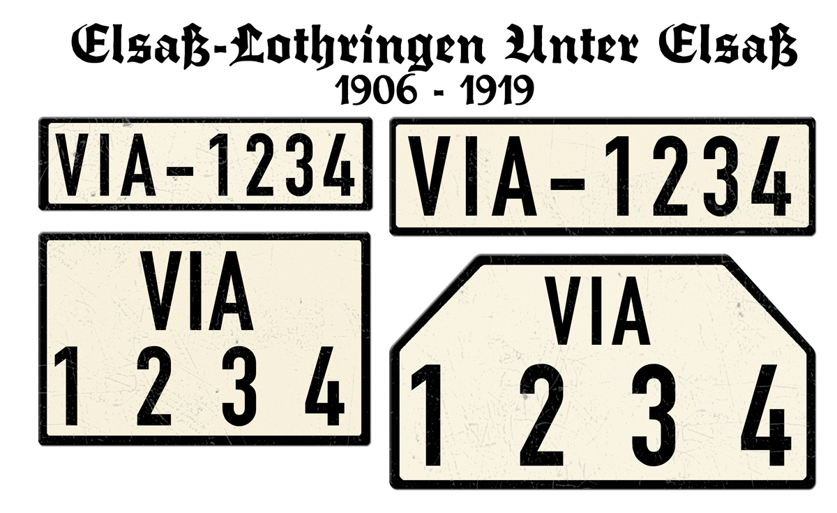 Alte deutsche Nummernschilder VIA Elsaß Lothringen Unter Elsaß 1906 bis 1919