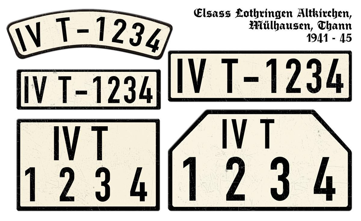 Alte KFZ-Kennzeichen IVT Elsass Lothringen Altkirchen Mülhausen Thann 1941 bis 1945