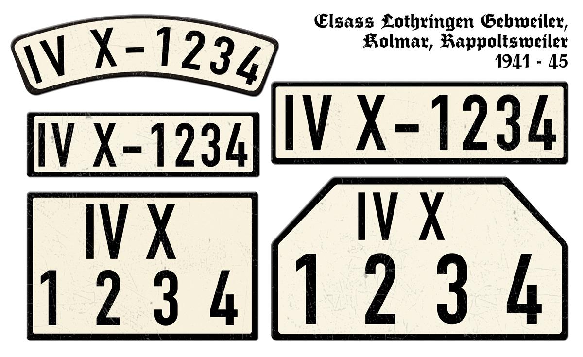 Nummernschilder IVX Elsass Lothringen Gebweiler Kolmar Rappoltsweiler 1941 bis 1945