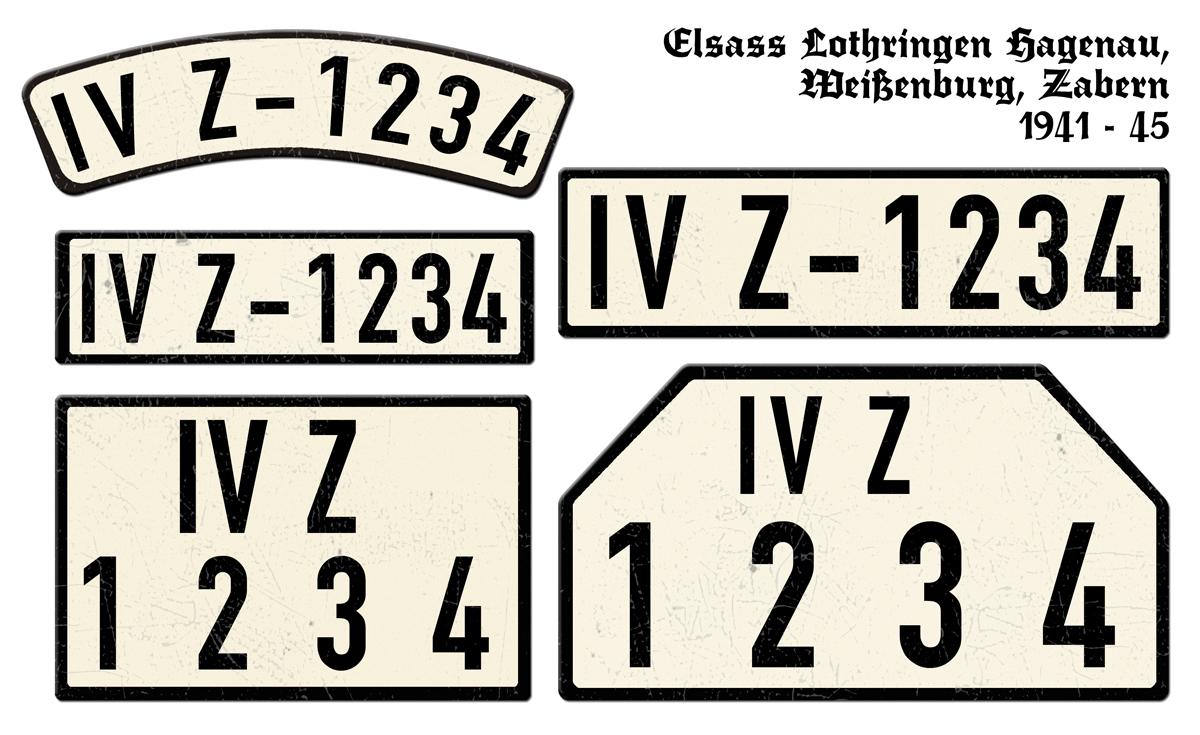 Nummernschilder IVZ Elsass Lothringen Hagenau Weienburg Zabern 1941 bis 1945