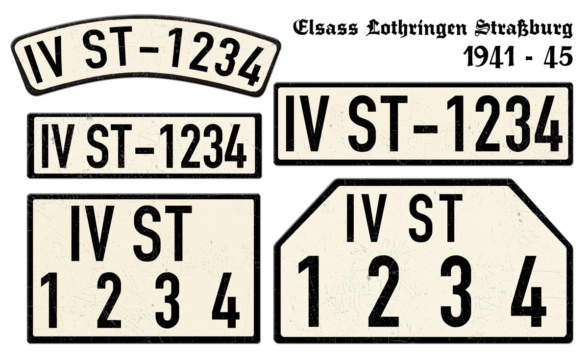 Alte Nummernschilder IVST Elsaß Lothringen Straburg 1941 bis 1945