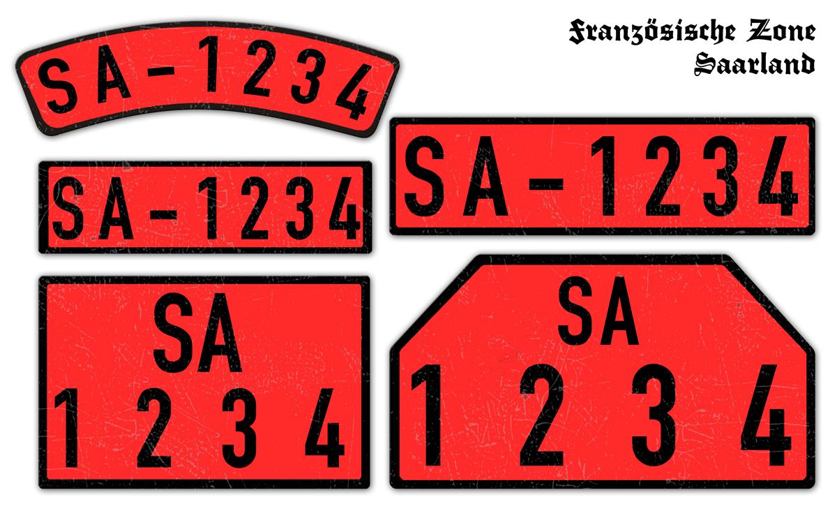 Rote Nummernschilder SA Französische Zone Saarland 1946 bis 1948
