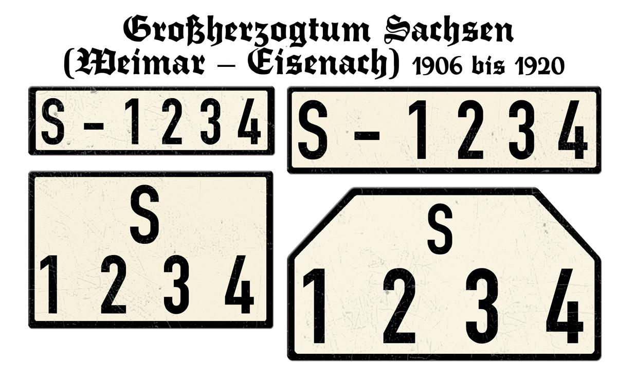 Nummernschilder S Großherzogtum Sachsen Weimar Eisenach 1906 bis 1920