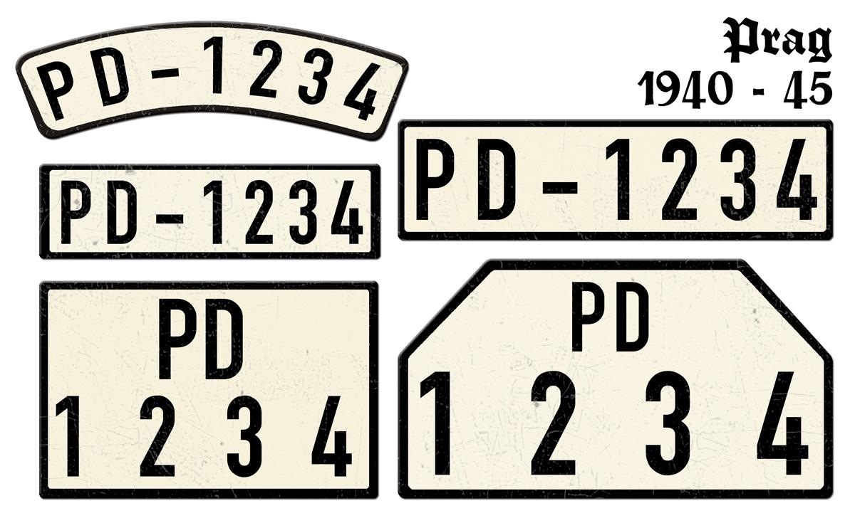 Nummernschilder PD Prag 1940 bis 1945