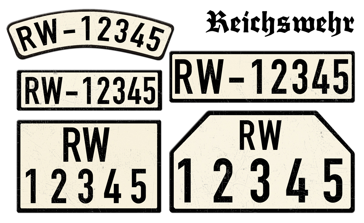 Nummernschilder Reichswehr RW im Deutschen Reich 1923 bis 1935