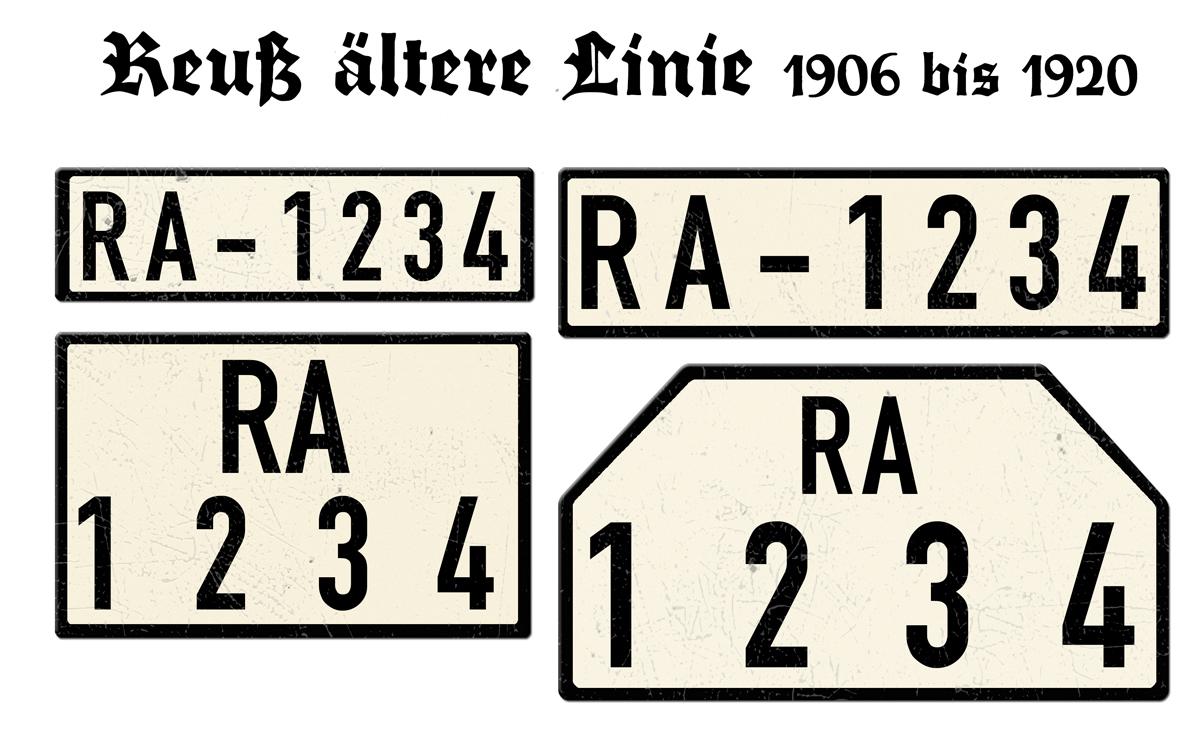Nummernschilder RA Reuß ältere Linie 1906 bis 1920