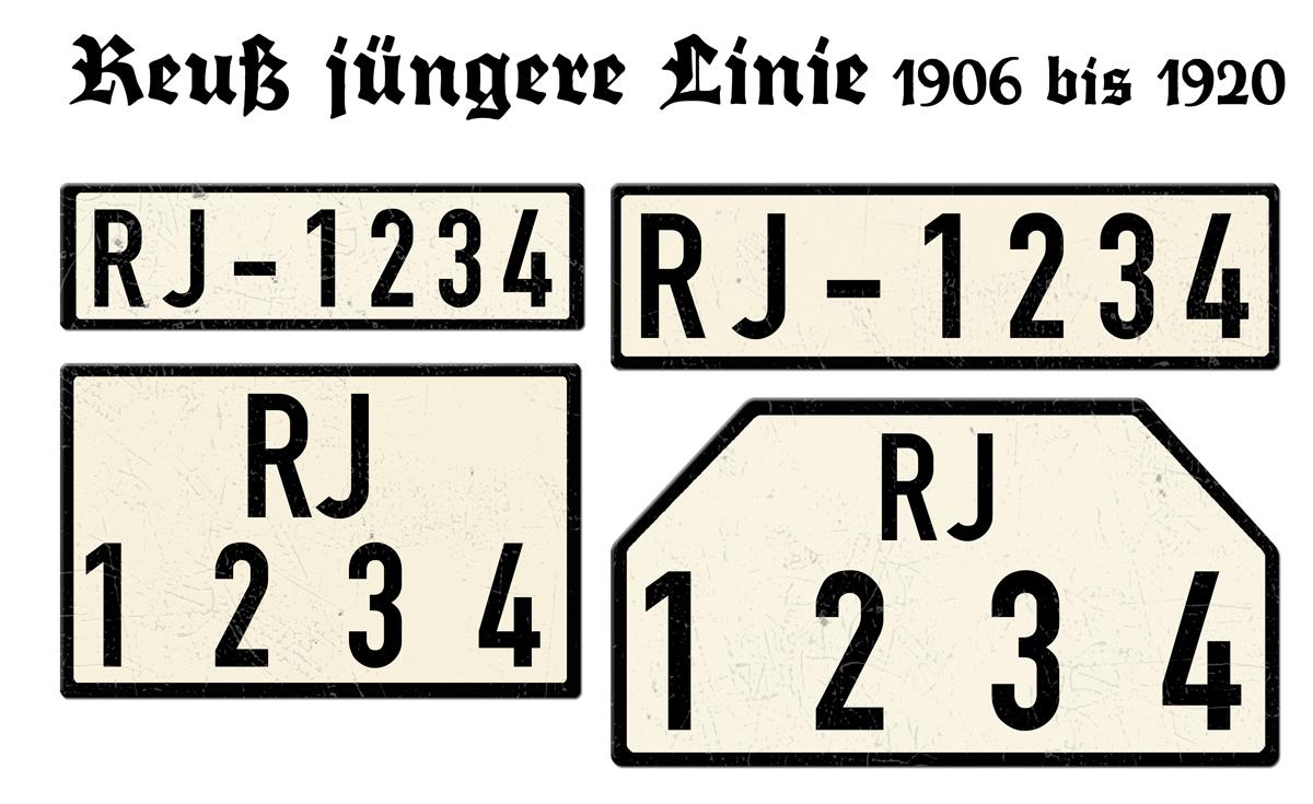 Nummernschilder RJ Reuß jüngere Linie 1906 bis 1920