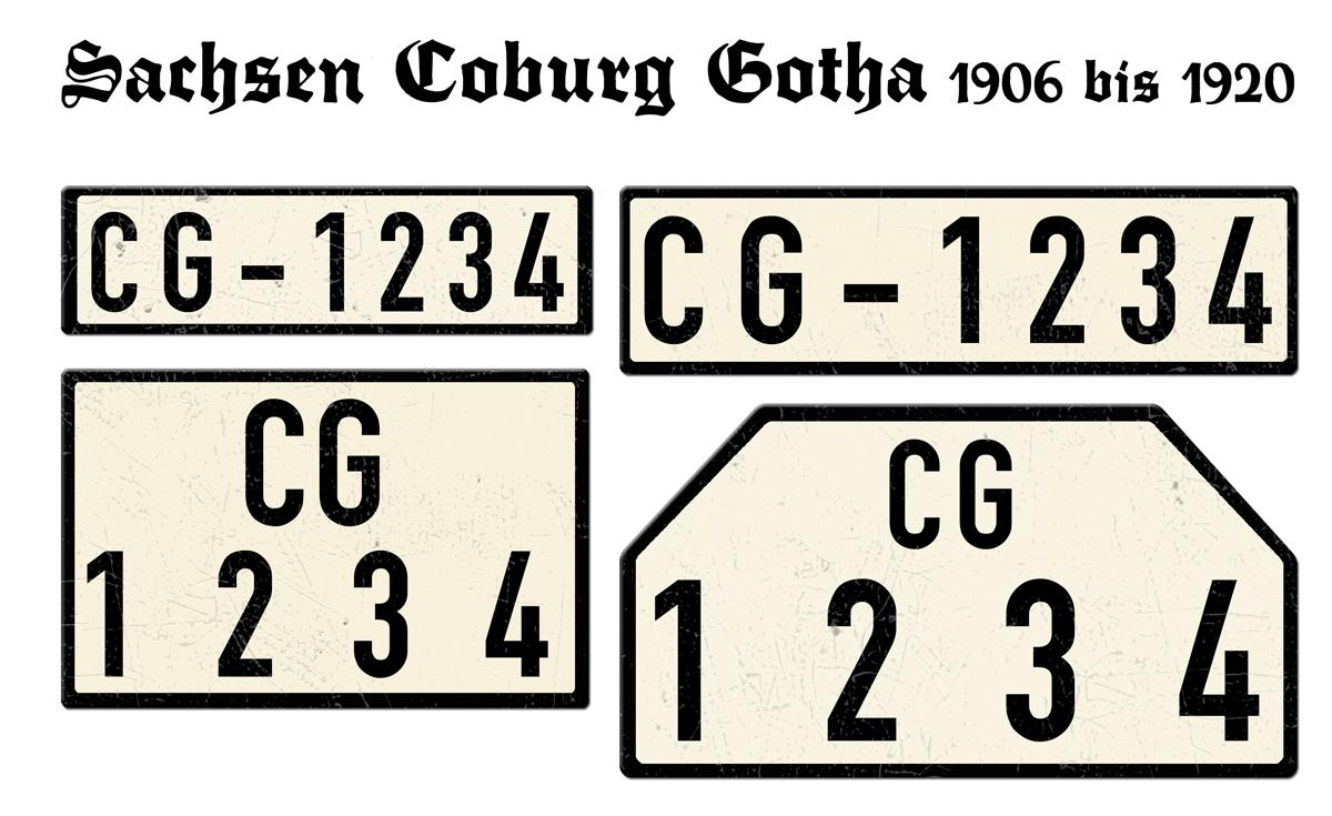Nummernschilder CG Sachsen Coburg Gotha 1906 bis 1920