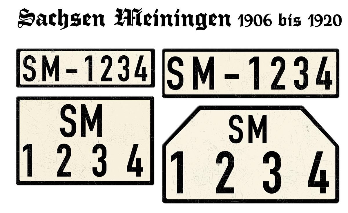 Nummernschilder SM Sachsen Meiningen 1906 bis 1920