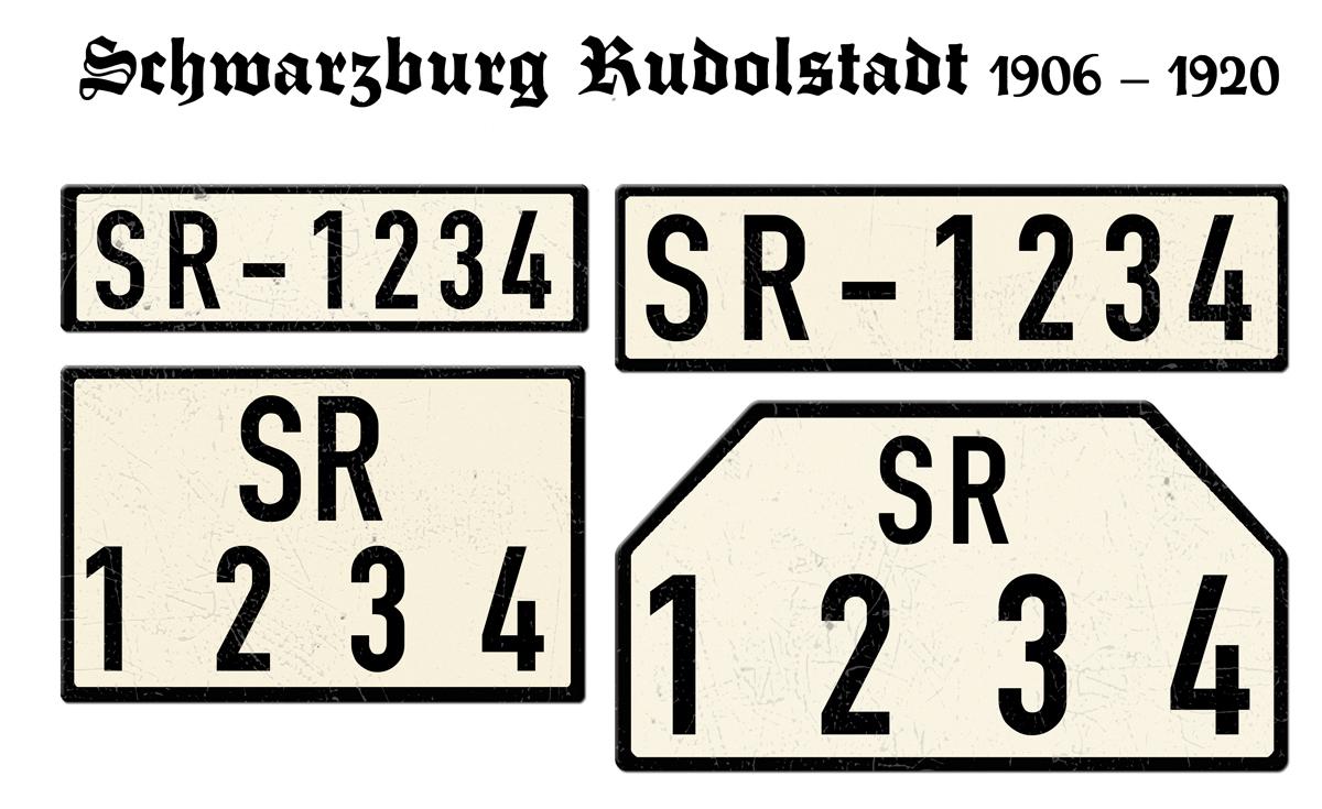 Alte Nummernschilder SR Schwarzburg Rudolstadt 1906 bis 1920