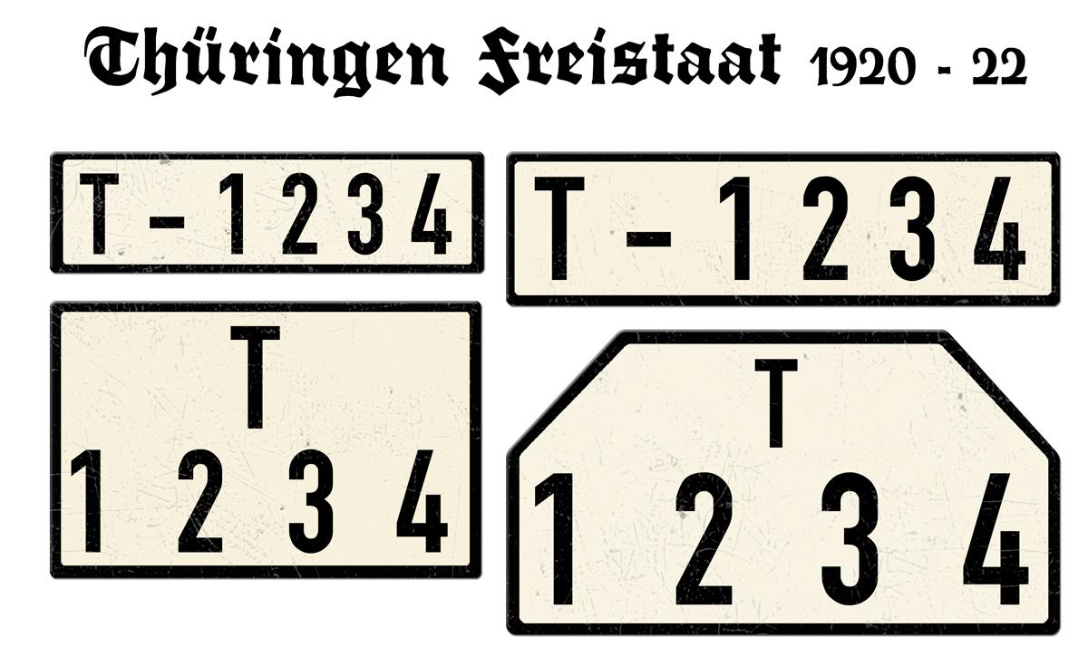 Nummernschilder T Thueringen Freistaat 1920 bis 1922