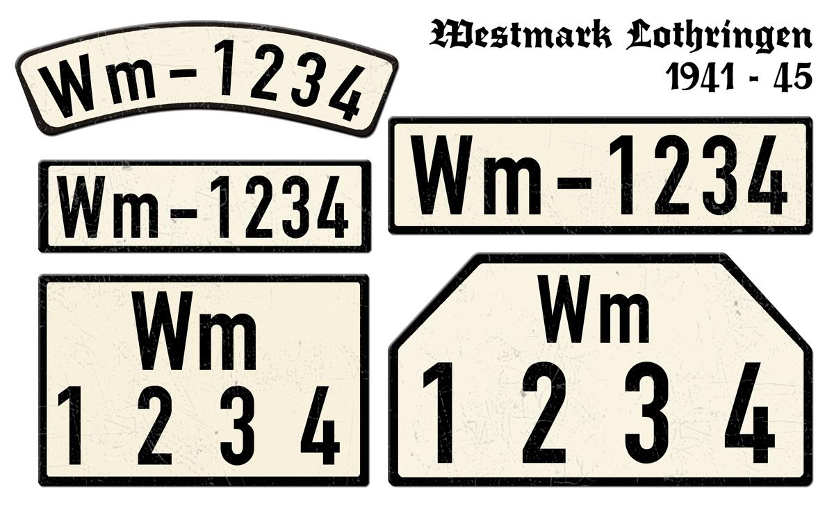 Nummernschilder WM Westmark Lothringen 1941 bis 1945