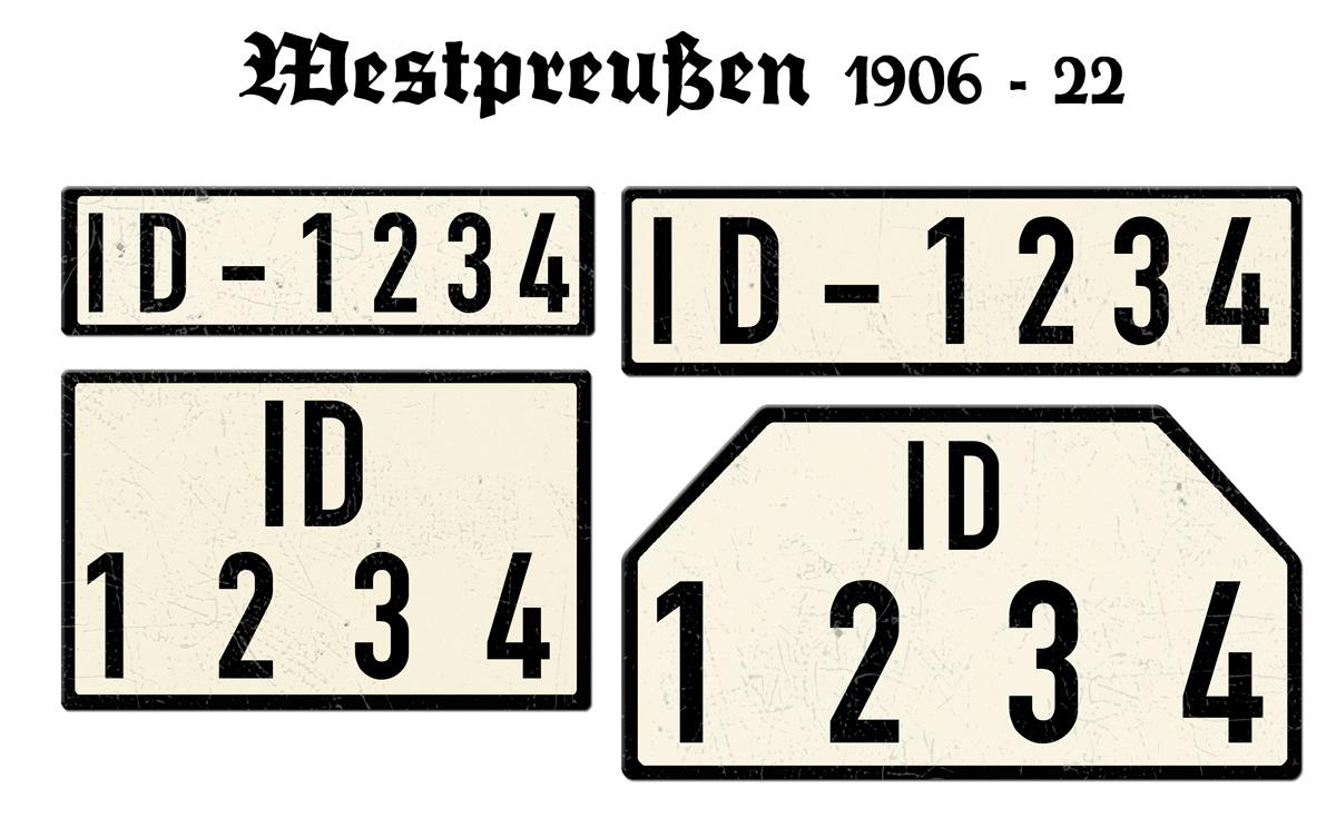 Nummernschilder ID Westpreußen 1906 - 22