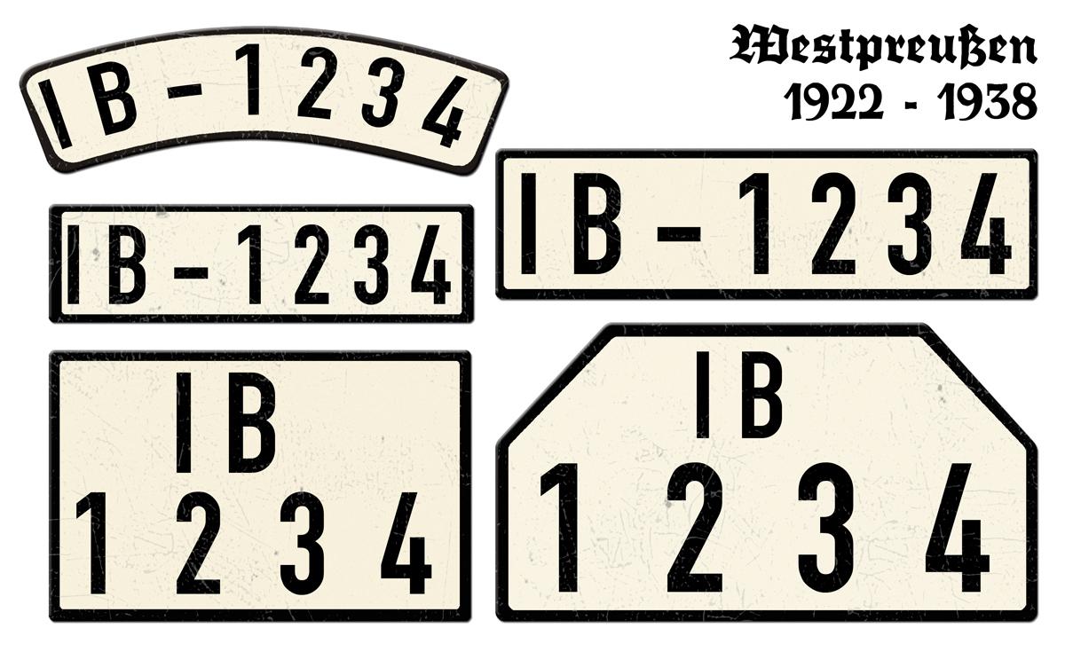 Nummernschilder IB Westpreußen 1922 - 1938