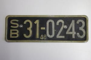 Nummernschild aus der SBZ, der sowjetisch besetzten Zone von 1948