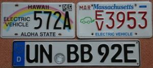 Nummernschilder für Fahrzeuge mit Elektroantrieb