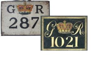 Alte englische Schilder für Kutschen