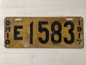 Nummernschild für ein Elektrofahrzeug aus OHIO USA 1917